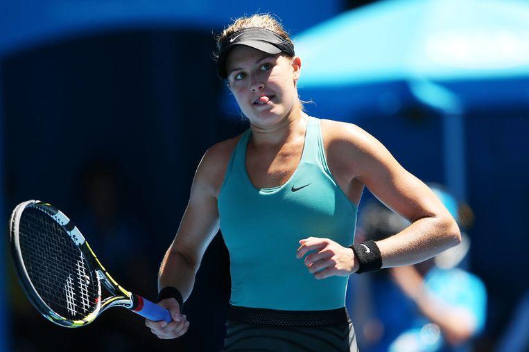 Eugenie Bouchard tijdens haar wedstrijd tegen Ana Ivanovic. Beeld getty