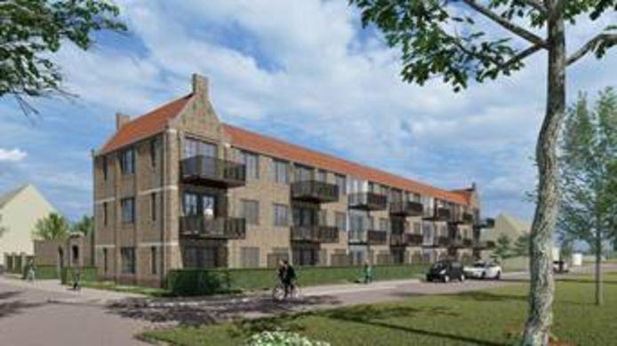 Het appartementencomplex van Woonbedrijf in plan Huysackers dat volgend jaar wordt opgeleverd.