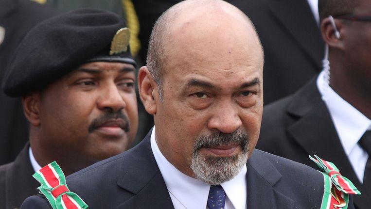 Desi Bouterse bij zijn beëdiging als president van Suriname. Beeld ANP