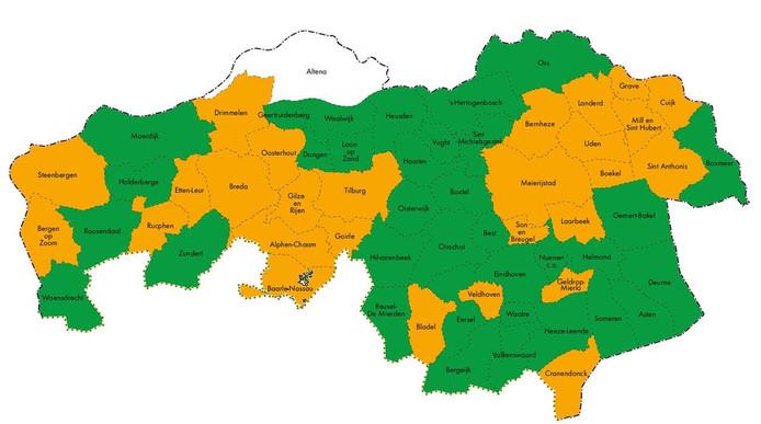 De provincie-begrotingenkaart van 2019 Vorig jaar dus geen 'onder toezichtstellingen' (rood). Bij gemeenten in het oranje waren het vooral de tekorten op het sociaal domein waardoor de provincie ze 'waarschuwings-oranje' kleurde.
