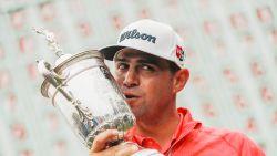 Gary Woodland wint op US Open golf eerste major, Woods stelt teleur
