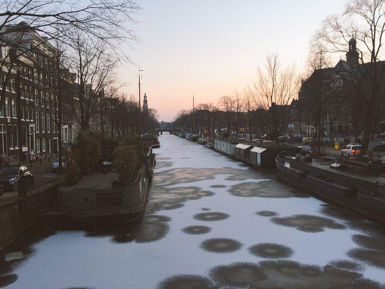 De bevroren Prinsensgracht Beeld Amsterdambybob
