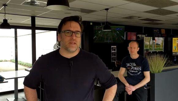 Baptiste Ghesquiere en Stijn De Rammelaere in cafetaria Zaal 7