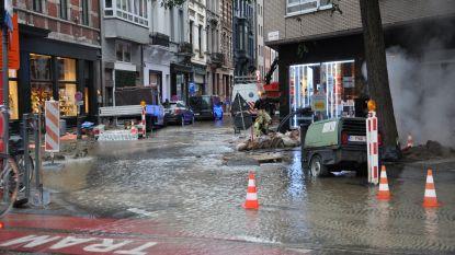 Gentse winkelstraten blank door waterlek: leiding geraakt bij graafwerken