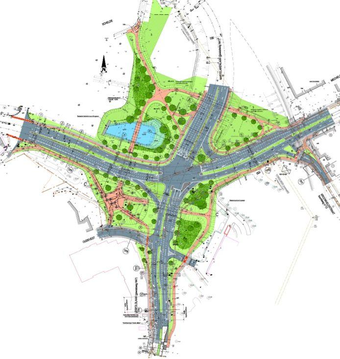 Ondergrondse fietstunnel en een bufferbekken zijn onder andere in het ontwerp voor het nieuwe kruispunt opgenomen.