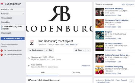 Actiepagina 'Club Rodenburg moet blijven' op Facebook. Al 597 mensen geven aan er vanavond bij te zijn als tegen de sluiting van de club wordt geprotesteerd bij het gemeentehuis waar de raad vergadert.