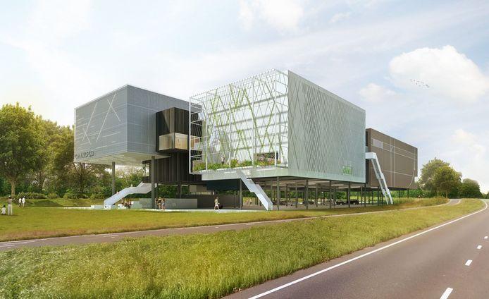 Archiefbeeld: Artists impressions nieuwbouw Gymworld aan de Amerikaweg in Zoetermeer
