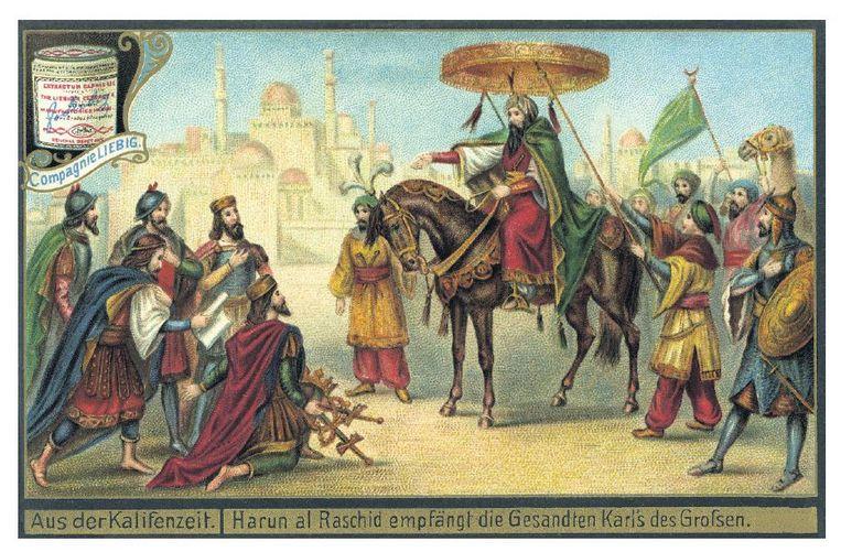 Arabisch kalifaat ontvangt gezanten van Karel de Grote in de 8ste eeuw. Beeld Hollandse Hoogte