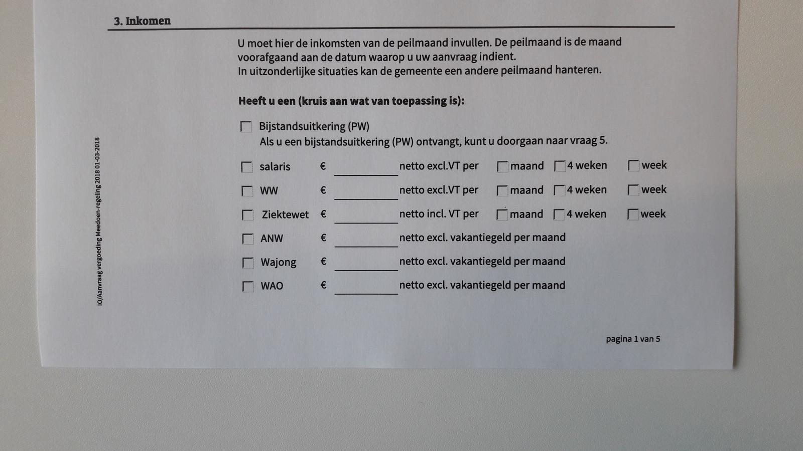 """Ingewikkelde passage in aanvraag voor vergoeding Meedoen-regeling 2018. CDA-raadslid Marjolijn Mijling: ,,Het taalgebruik is officieel en juridisch, woorden en zinnen zijn te lang. Voor mensen die lager geletterd zijn, is het niet te doen."""""""