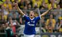 Dolle vreugde bij Ibrahim Afellay na zijn doelpunt op bezoek bij rivaal Borussia Dortmund .