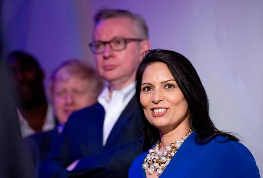 Boris Johnson, links, Michael Gove and Priti Patel bij Vote Leave.