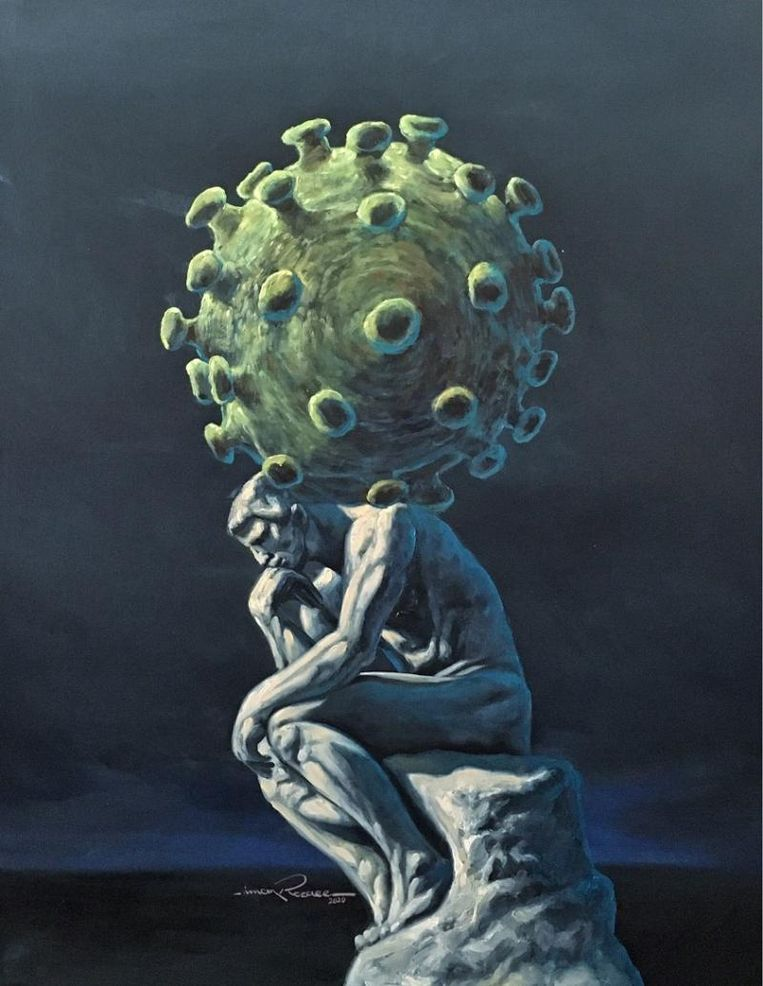 Kunstenaar en bewoner van azc Hardenberg  Iman Razeaa maakte dit schilderij met de titel 'What is to be done?'. Beeld Iman Razeaa