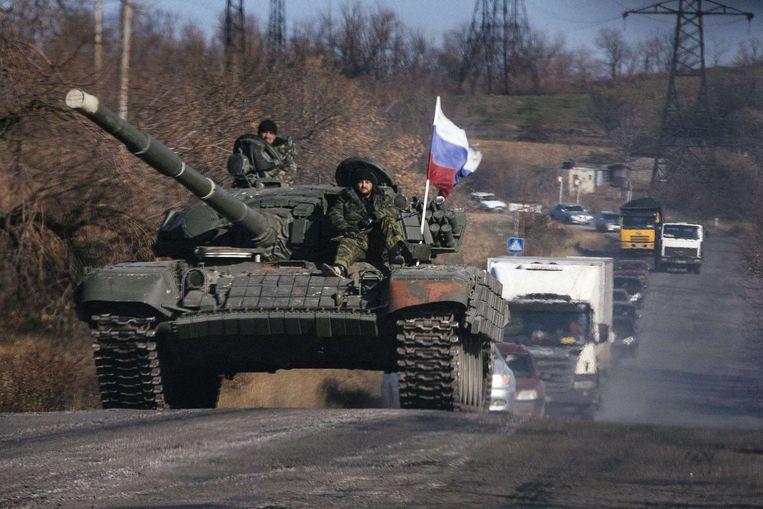 Pro-Russische separatisten in Loehansk. Beeld afp