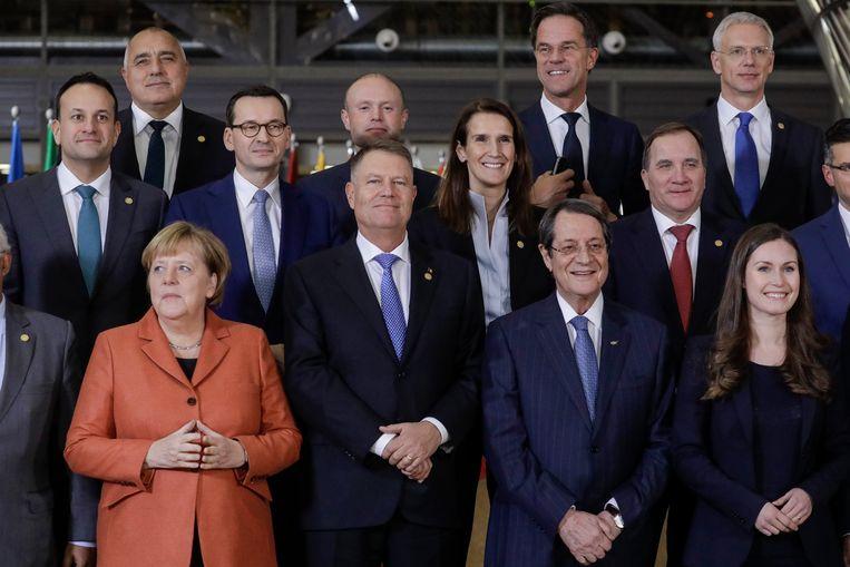 Europese leiders voor de top in Brussel.