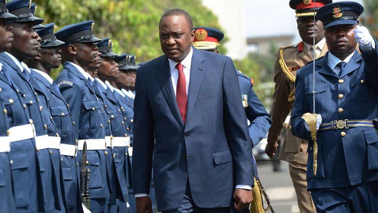 De Keniaanse president Kenyatta sprak onlangs nog het parlement toe over de toegenomen onveiligheid in het land. Beeld afp
