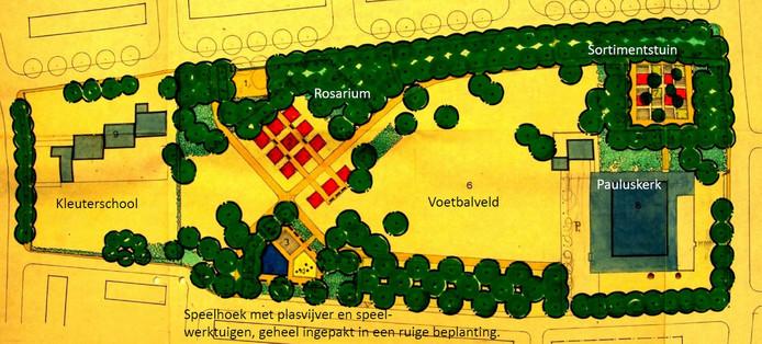 Het ontwerp voor een park op de Brink uit 1968. De toenmalige gemeente Oudenbosch had beloofd in het jaar 2000 het geld daarvoor bij elkaar te hebben.