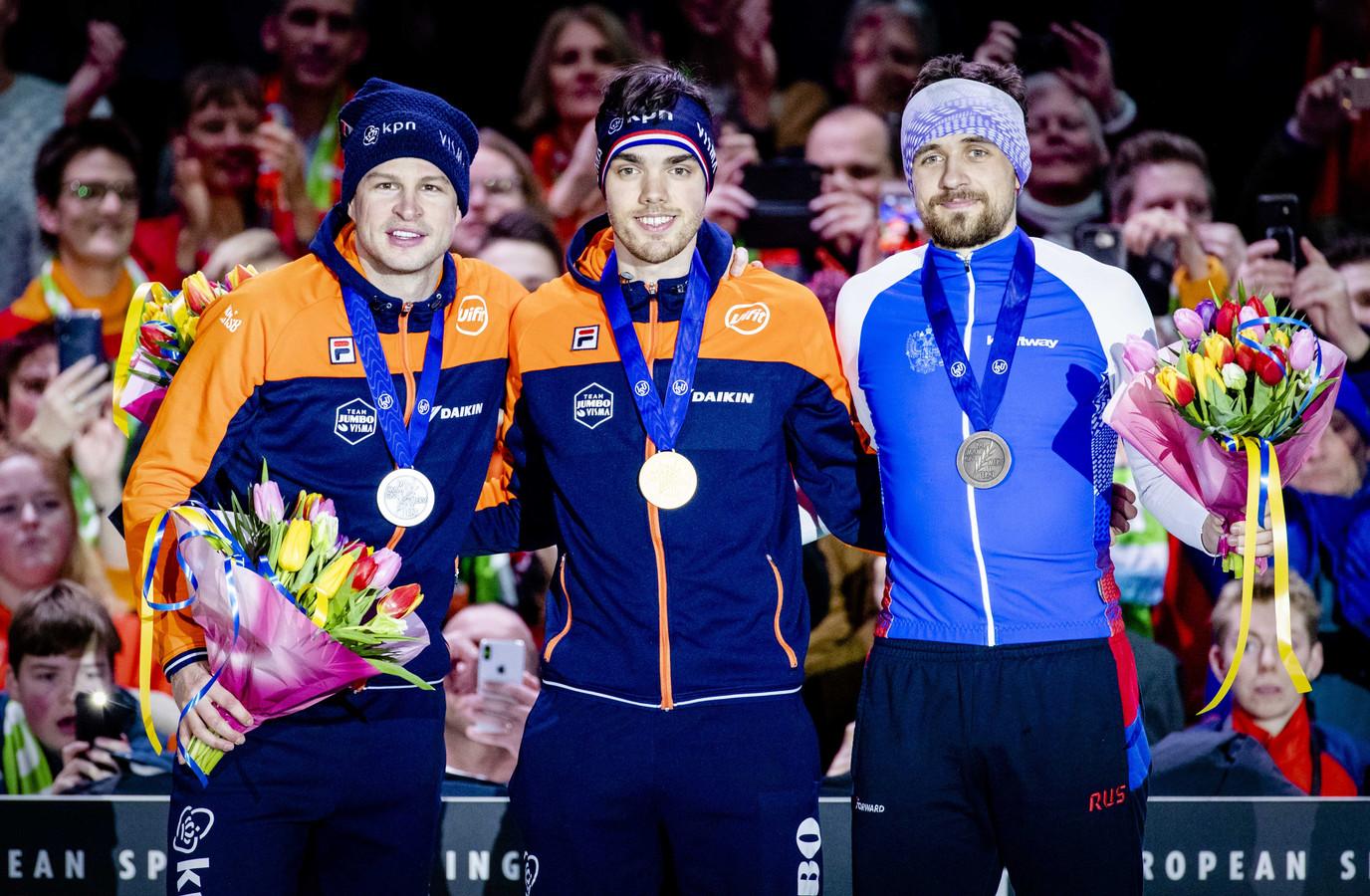 Sven Kramer, Patrick Roest en Denis Joeskov.