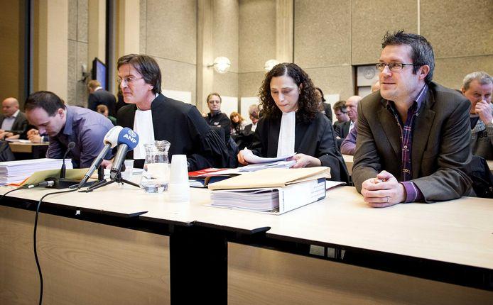 CNV-onderhandelaar Martijn den Heijer eerder dit jaar bij de rechtszaak tussen vakbonden en Vroom en Dreesmann