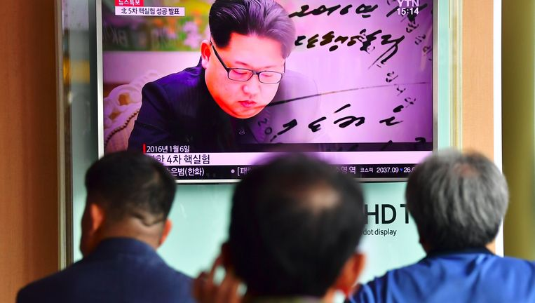 De Noord-Koreaanse leider Kim Jong-un tijdens een televisieoptreden. Beeld afp