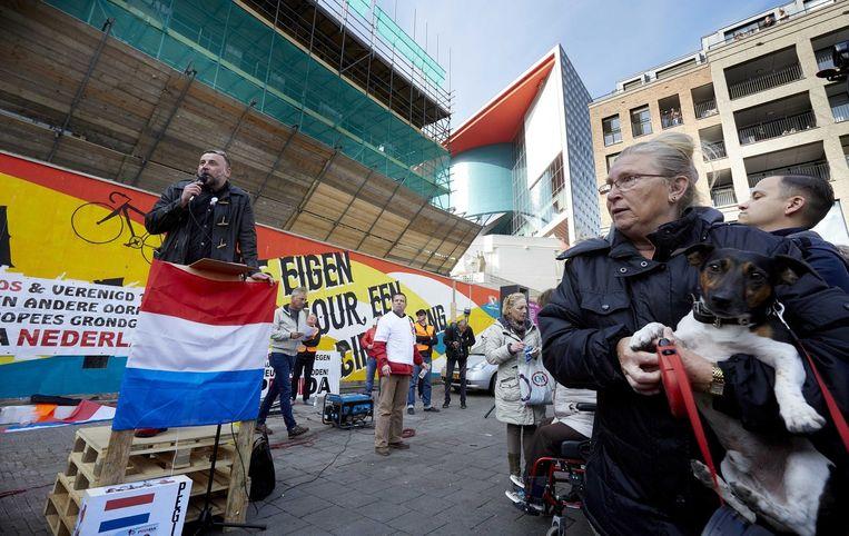 Pegida-leider Lutz Bachmann tijdens een demonstratie afgelopen zondag in Utrecht. Beeld epa