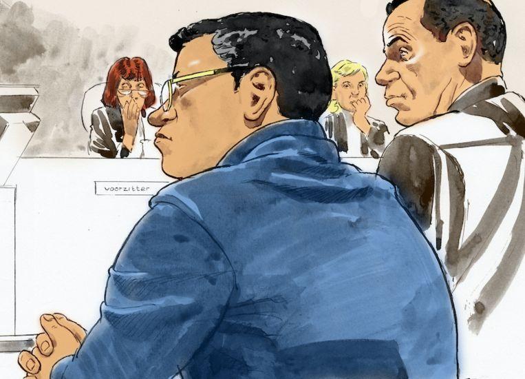 Rechtbanktekening van een eerdere zitting met Richard R., beter bekend als Rico de Chileen. Beeld ANP