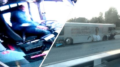 VIDEO: Bus verliest beide achterwielen op snelweg, maar chauffeur blijft koelbloedig