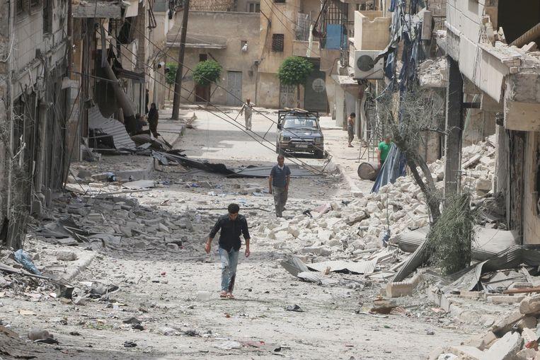 De wijk Baedeen in Aleppo gisteren.