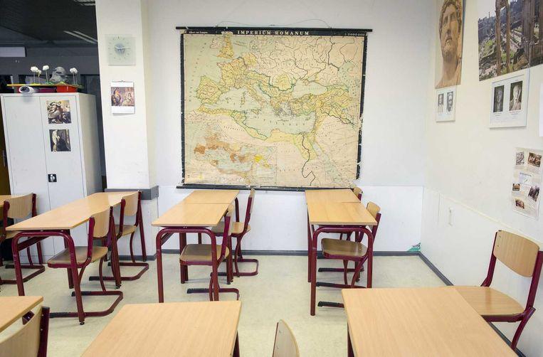 Een klaslokaal van het Christelijk Gymnasium Sorghvliet, de aankomende school van prinses Amalia. Beeld anp