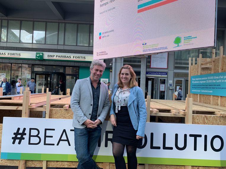 Minister van Leefmilieu Alain Maron (Ecolo) en minister van Mobiliteit, Elke Van den Brandt presenteerden het programma voor de Week van de Mobiliteit.