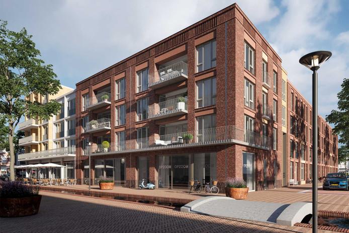 Appartementengebouw Transzoom, dat gaat verrijzen op de hoek Nieuwstraat-Trans in de Arnhemse binnenstad.