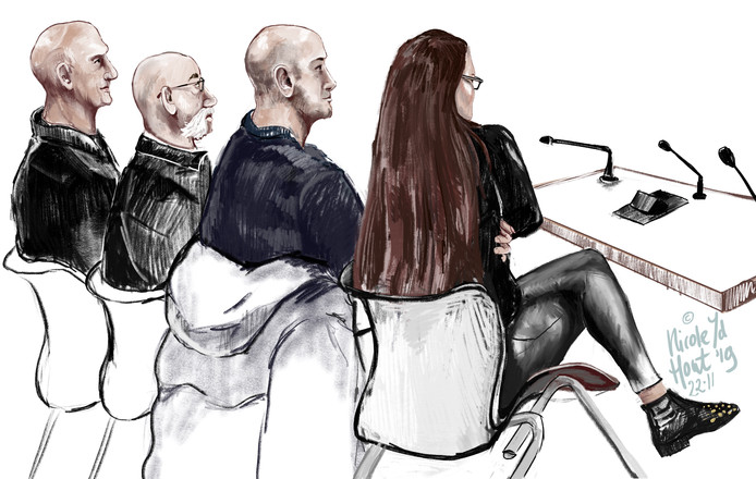 De vier verdachten in de rechtbank.
