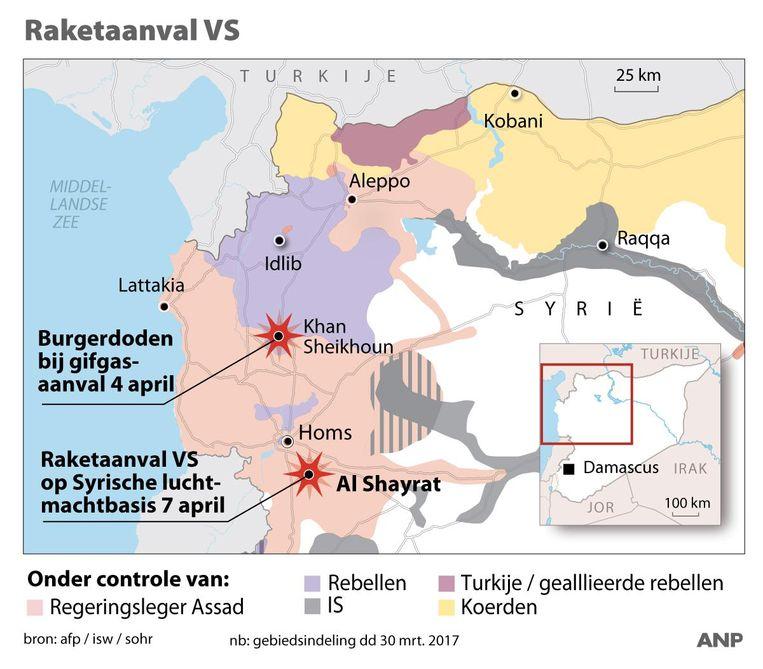 De militaire situatie in het gebied in het noorden van Syrië waar de gifgasaanval plaatsvond. Beeld ANP