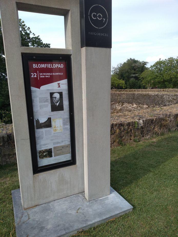 De erfgoedhalte rond Sir Reginald Blomfield komt er naar aanleiding van de opening van het Blomfieldpad.