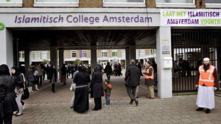 Ingang van het Islamitisch College (ICA) in Amsterdam-Slotervaart. Foto ANP Beeld