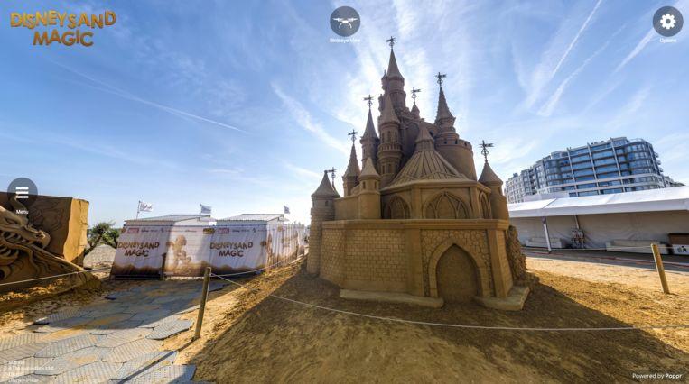 Je kan virtueel rondwandelen langs het Zandsculpturenfestival.