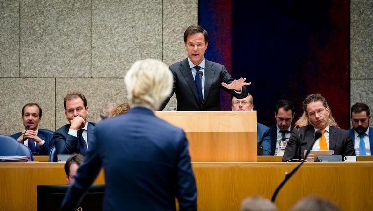 Premier Mark Rutte in debat met PVV-fractievoorzitter Geert Wilders tijdens de Algemene Politieke Beschouwingen. Beeld anp