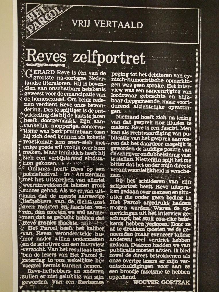 De verontschuldigingen van hoofdredacteur Wouter Gortzak. Beeld Het Parool