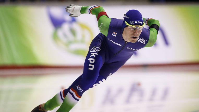 Gerben Jorritsma tijdens zijn winnende 1.000-meterrace. Beeld AP