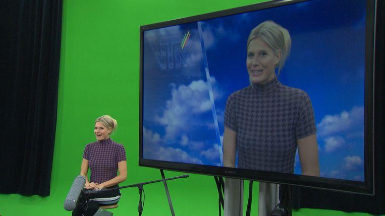 Nathalie Meskens als omroepster van dienst.