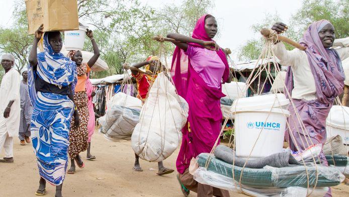 Vluchtelingenkamp in Juba, Zuid-Soedan.