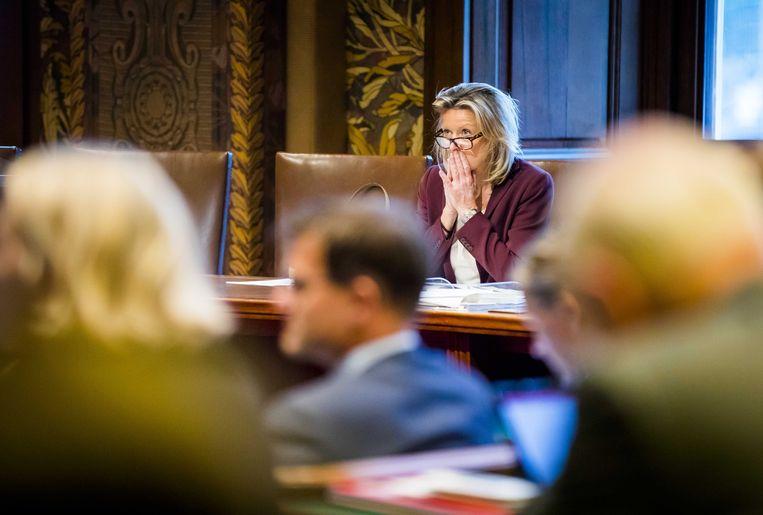 Minister Kajsa Ollongren van Binnenlandse Zaken en Koninkrijksrelaties (D66) tijdens de stemmingen in de Eerste Kamer over de afschaffing van het raadgevend referendum. ANP BART MAAT Beeld ANP