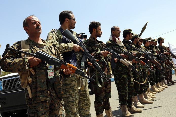 Aanhangers van de Houthi-rebellen in Hodeidah.
