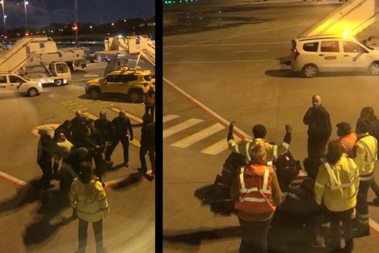 De arrestatie van Jozef Chovanec is vanuit het vliegtuig gefilmd. Beeld VTM NIEUWS