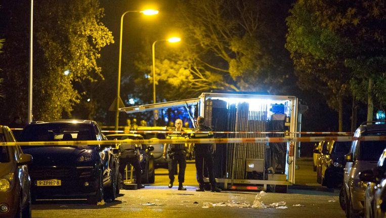 Politieonderzoek na de liquidatie van Vincent Jalink, vorig jaar in Diemen. Beeld anp