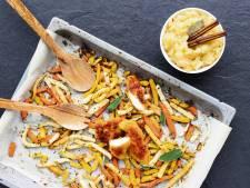 Wat Eten We Vandaag: Groentefriet uit de oven met krokante kip en appelmoes