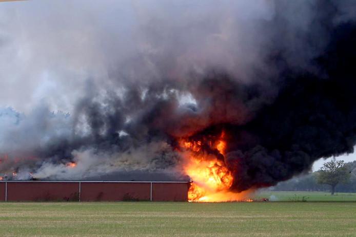 Uitslaande brand in varkensstal in Heusden.
