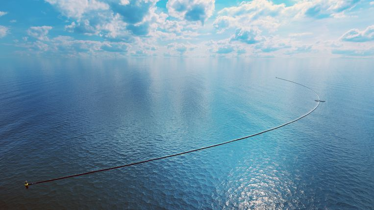 Een artist impression van de Ocean Cleanup.   Beeld Jiri Buller