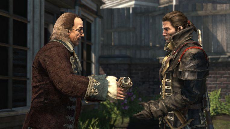 Het eerste optreden van Benjamin Franklin (links) na zijn dood. Beeld Ubisoft