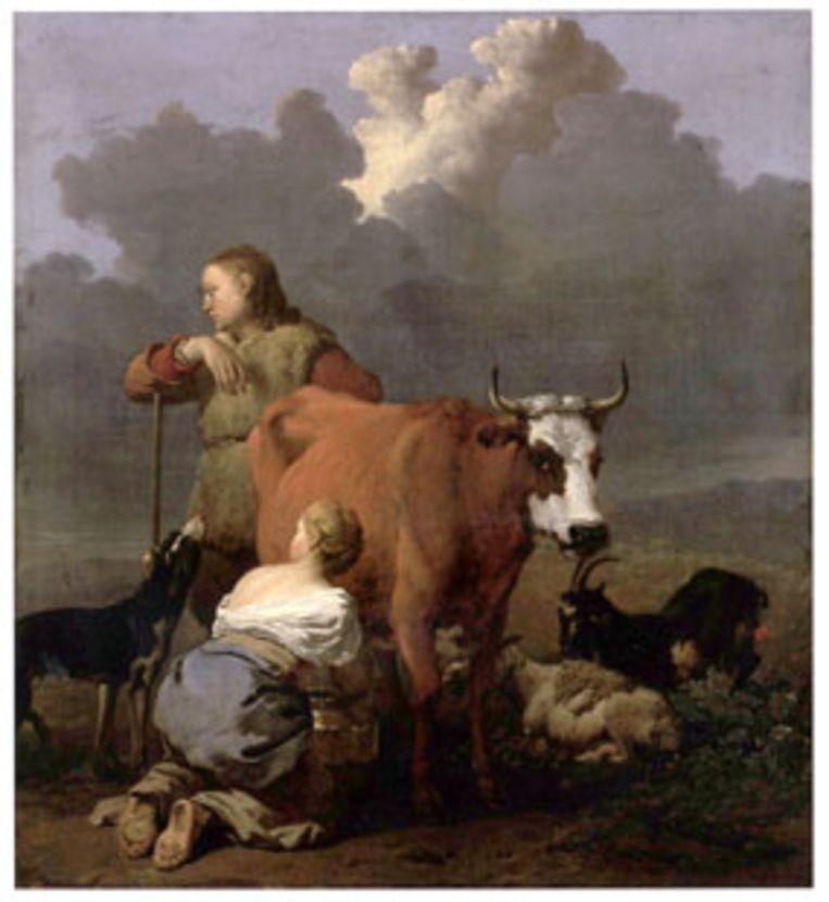 Een weide met vee en een herder en herderin die een roodbruine koe melken van Karel du Jardin. Beeld