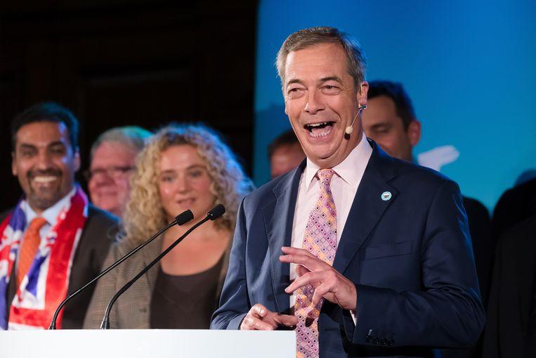Nigel Farage, de leider van de Brexitpartij in Groot-Brittannië.